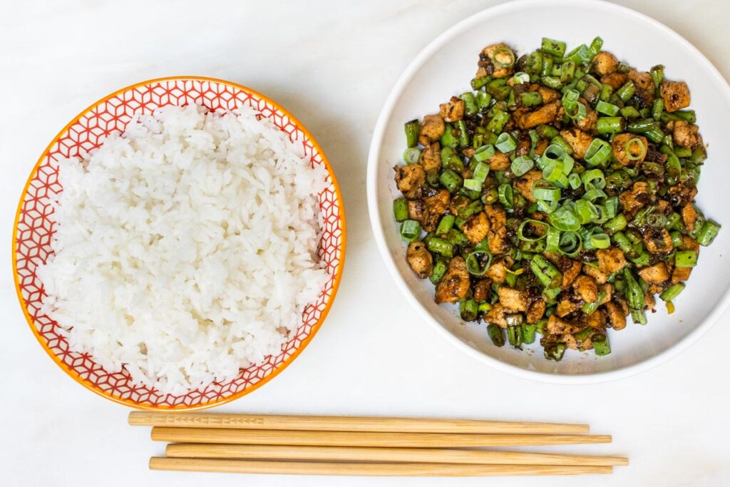 Bowl of Hunan Chicken with Bowl of White Rice