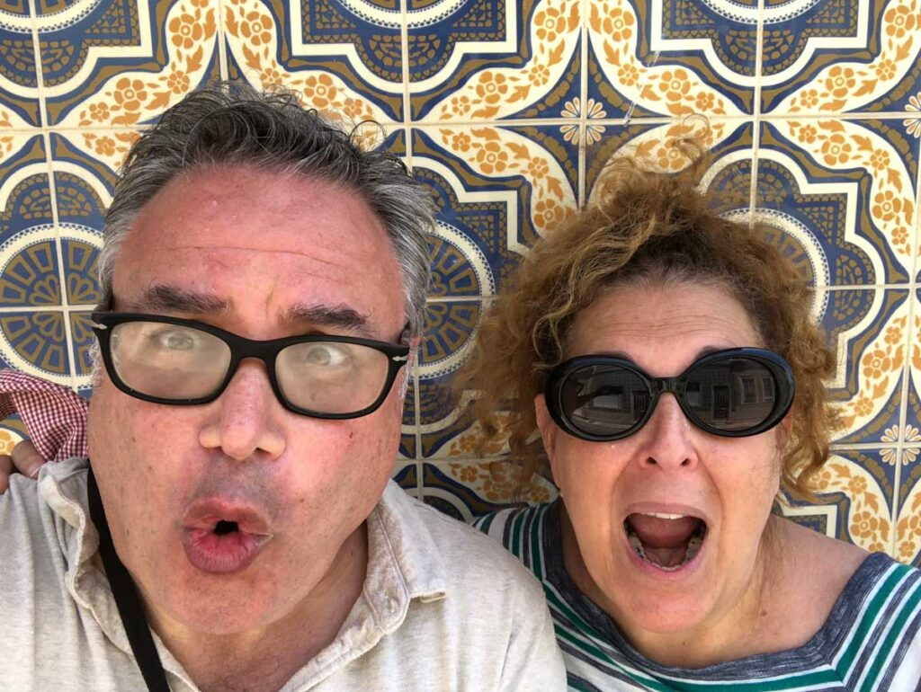 Daryl & Mindi look crazy in Front of Tiles