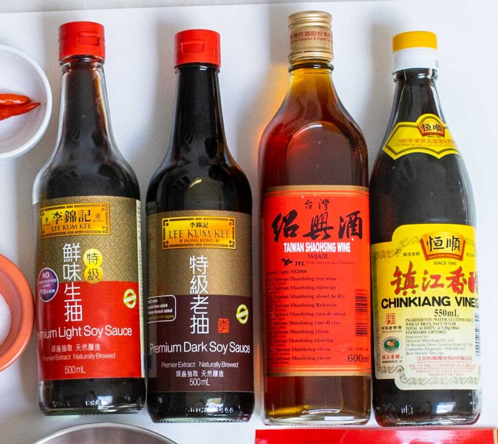 Four Sauces used in Chinese Stir Fry