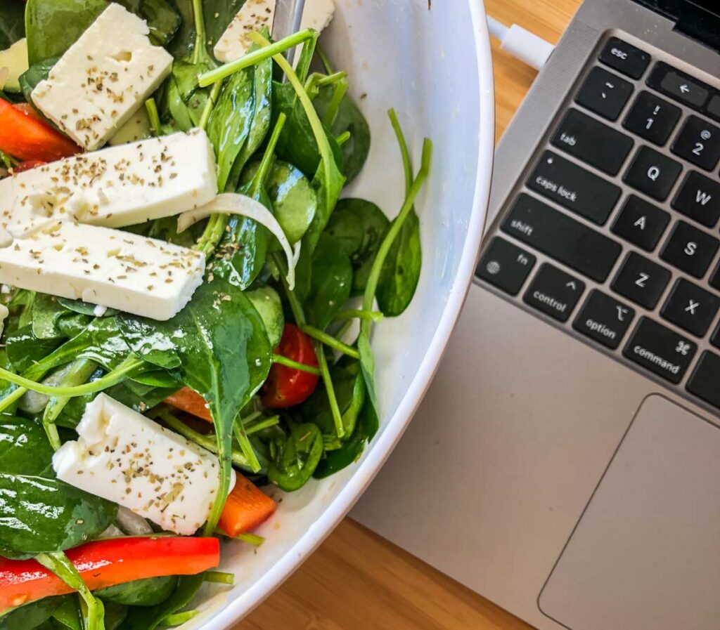 Salad and Laptop