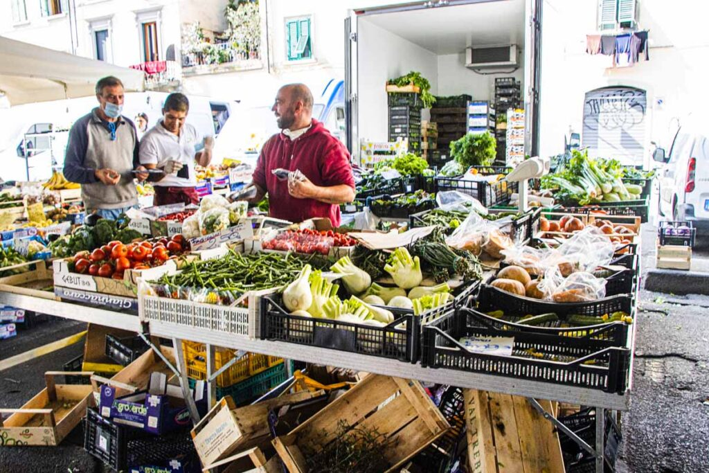 Selling Produce at the Mercado San Ambrogio in Florence