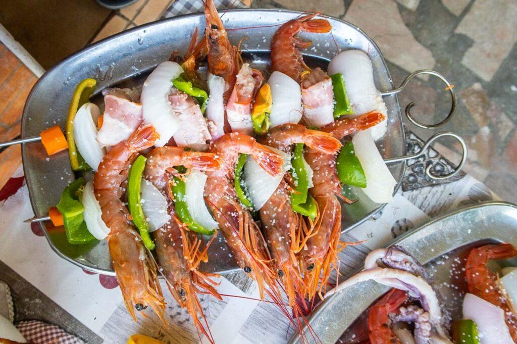 Shrimp Espetada in Algarve