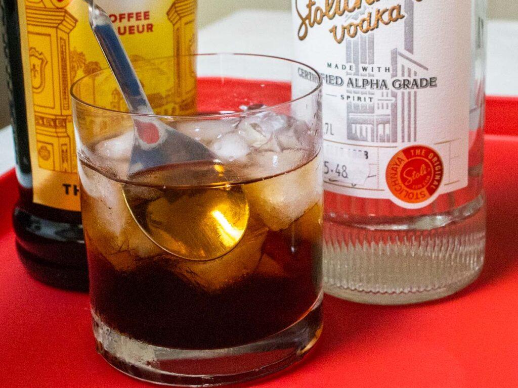 Stirring Black Russian Cocktail