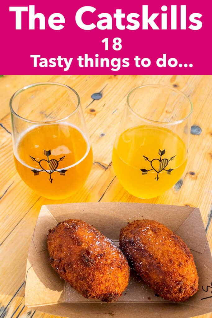 """Pinterest image: photo of cider with caption reading """"The Catskills 18 Tasty things to do..."""""""
