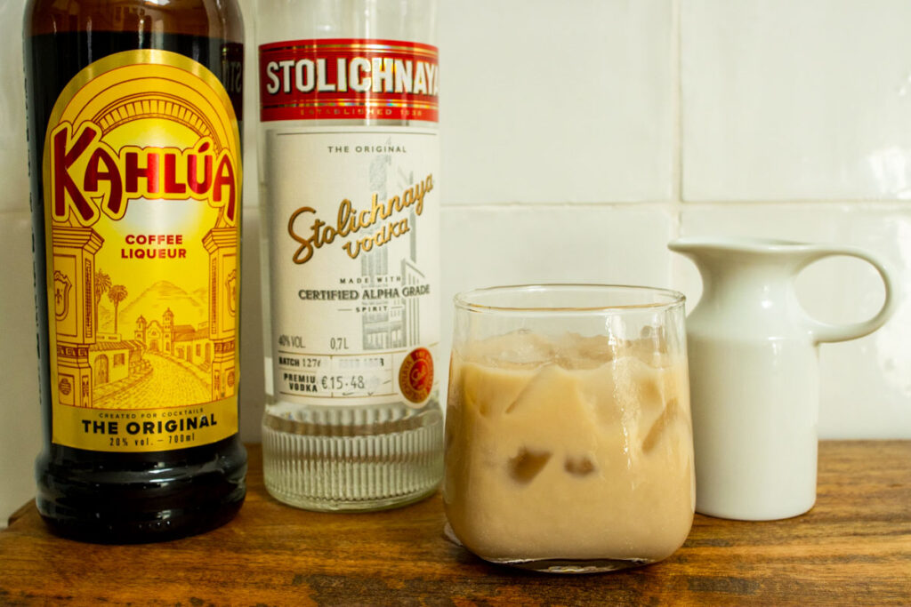 White Russian next to Ingredients