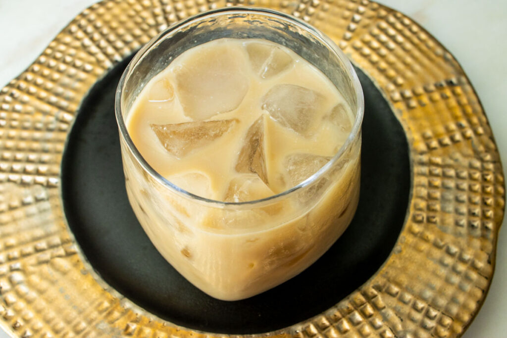 White Russian on a Black and Gold Plate