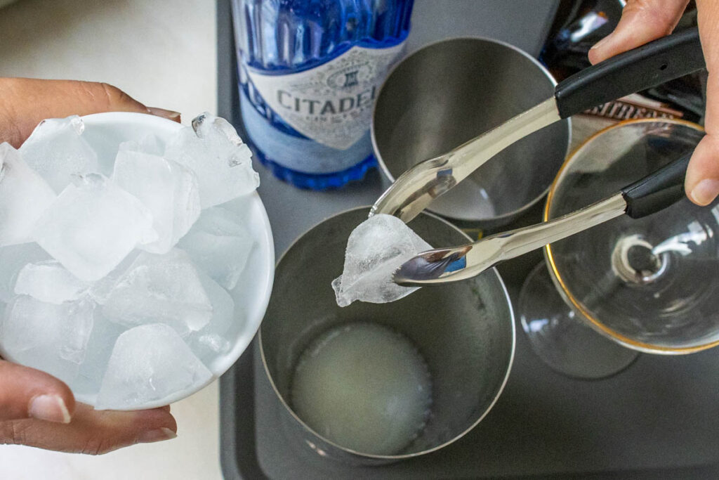 Adding Ice to a White Lady Cocktail