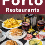"""Pinterest image: photo of food at Casa Guedes with caption reading """"The Best Porto Restaurants"""""""