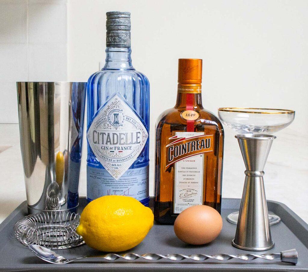 White Lady Cocktail Mis en Place