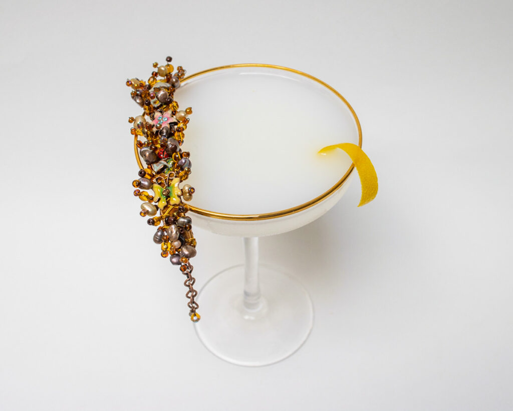 White Lady Cocktail with Bracelet on Rim